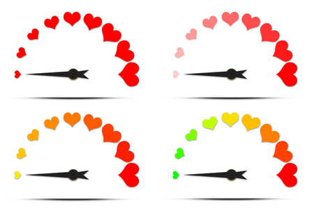 rating meter: Speedometer or rating meter gauge element. Icon or sign with arrow. Set colorful gauge illustration