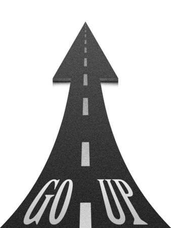 onwards: Black up arrow on white background. Up arrow expressing growth and progress. The concept of development