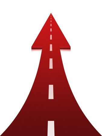 onwards: Red up arrow on white background. Up arrow expressing growth and progress. The concept of development Stock Photo