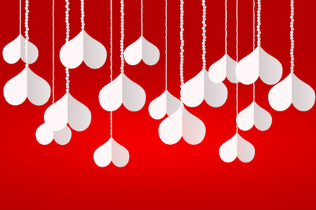 vibrant background: Illustration vibrant background on Valentines Day. White hearts hanging from chains on a red background. The concept of love