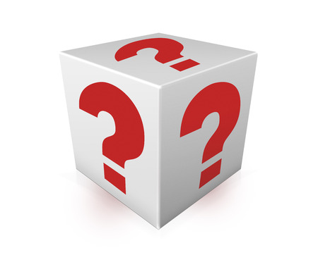 Red question marks on white box. Question Box isolated over white background