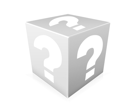 probability: White question marks on white box. Question Box isolated over white background Stock Photo
