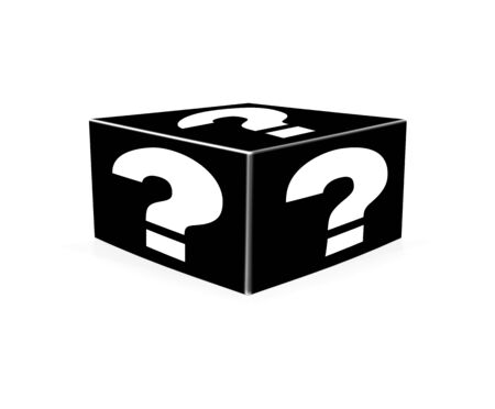 probability: White question marks on black box. Question Box isolated over white background Stock Photo