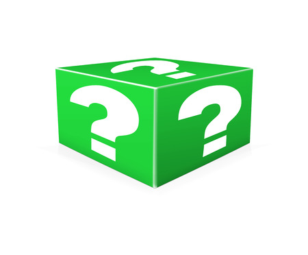 probability: White question marks on green box. Question Box isolated over white background Stock Photo