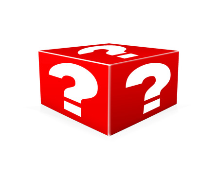 probable: White question marks on red box. Question Box isolated over white background
