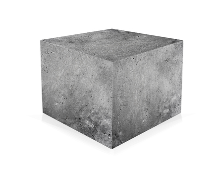 Concrete cube isolated on white background. The concept of building