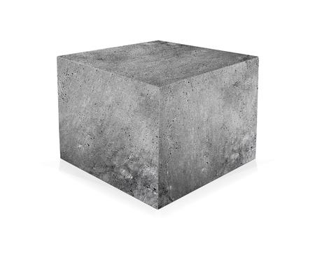 concrete: cubo de hormigón aislado en el fondo blanco. El concepto de construcción
