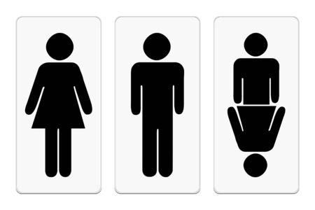 human figure: Los hombres negros y mujeres imágenes en estilo plano. Tres figura humana. Ilustraciones del vector EPS10. Vectores