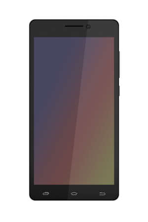 glas: Black Smart Phone With Blank Screen.