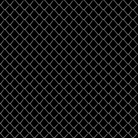 chainlink fence: Seamless mesh netting on black background. Seamless chainlink fence on black. Stock Photo