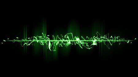 Green chaotische balk in een horizontale positie. Laser geweerschot groene straal Stockfoto