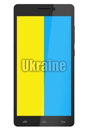 ukrainian flag: Ukrainian flag on smartphone screen isolated on white. Ukrainian flag in media Stock Photo