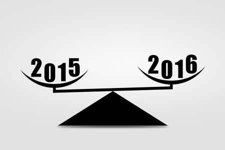 unequal: Illustration of scales with dates 2015 and 2016 year on light background Stock Photo