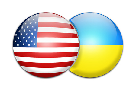 independence day: Illustration-USA and Ukraine Flag two Glossy Button Stock Photo