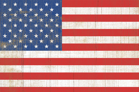 world flag: Simple of flag United State Of America. USA flag on old wooden texture Stock Photo