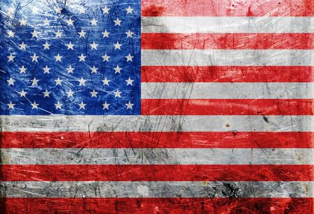 metall texture: Simple of flag United State Of America. USA flag on old metall texture Stock Photo