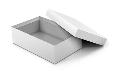 elegant white: Template of blank cardboard box with opened lid lying on white background. Packaging collection. Cardboard Box Opened.