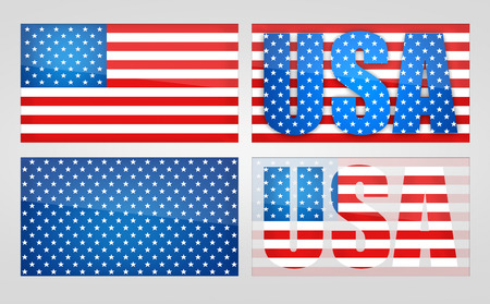 symbolism: Four variants of the symbolism USA, on a light background. Illustration of the USA flag.