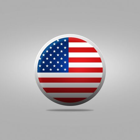 world flag: USA Flag Button Icon. Round icon with the image of a flag USA on gray background Stock Photo