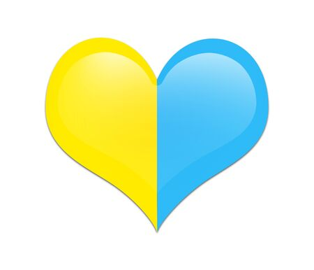 ukraine flag: Heart shape of Ukraine flag on white background. Heart with Ukraine flag isolated.