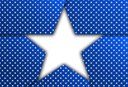 patriotic: White star on a blue patriotic background. Blue patriotic background with stars. Stock Photo