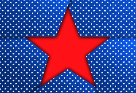 patriotic background: Red star on a blue patriotic background. Blue patriotic background with stars. Stock Photo