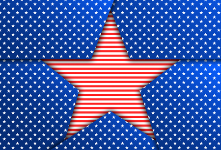patriotic: Red star on a blue patriotic background. Blue patriotic background with stars. Stock Photo