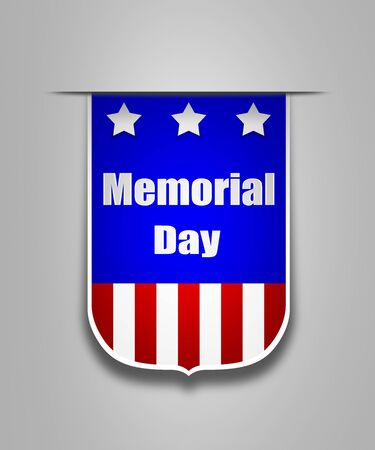 memorial: Hanging ribbon on the Memorial day. Stylish banner on the american  Memorial day. Memorial day ribbon element for websites. Stock Photo