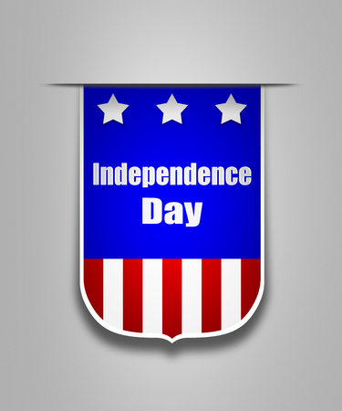 the americas: Hanging ribbon on the Independence day of Americas. Stylish banner on the american Independence day. Independence day ribbon element for websites.