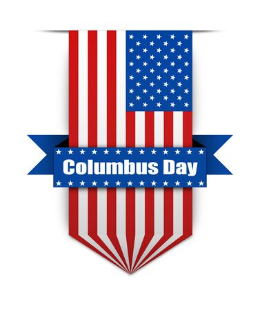 admiral: Hanging ribbon on the Columbus day in style american flag. Stylish banner on the american Columbus day. Columbus day flag for websites.