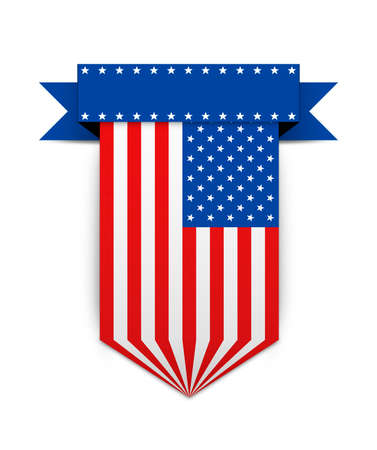 hanging banner: Hanging ribbon in style american flag. Stylish hanging banner. Color USA flag for websites.