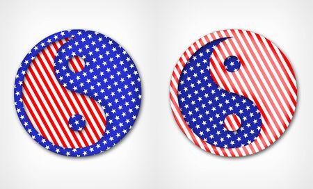 yin y yang: símbolo de Yin Yang en el estilo de la bandera de Estados Unidos. símbolo de Yin Yang sobre un fondo blanco. Pattic signo Yin Yang. Foto de archivo