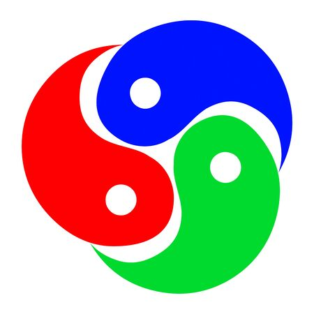 contradiction: Bitmapped Illustration circle swirl yin-yang. Abstract yin yang icon in red, blue and green colors