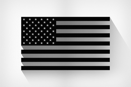 black flag: The black flag of the United States with a long shadow. Abstract black USA flag on a light background Stock Photo