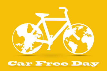 civic: Car Free Day concept illustration. World car free day on September 22 announcement. Illustration white bicycle on an orange background