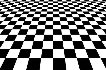 Checkered Background In Perspective. Squares - black and white Stok Fotoğraf