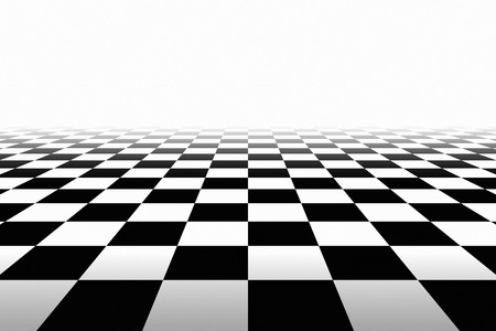 vanish: Checkered Background In Perspective. Squares - black and white Stock Photo