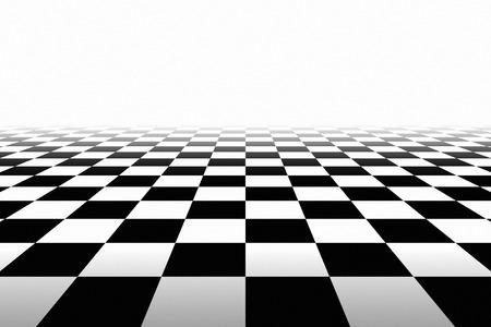 Contexte Checkered En perspective. Carrés - noir et blanc Banque d'images