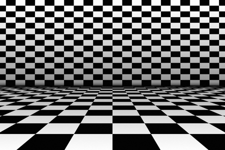 black floor: A realistic interior in the style of a black and white checkerboard. The floor and walls of the room in the style of a chessboard.