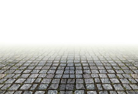linear perspective: Traditional granite masonry footpath on white background. Old stone pavement in linear perspective.