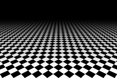 checkered background: Checkered Background In Perspective. Squares - black and white Stock Photo