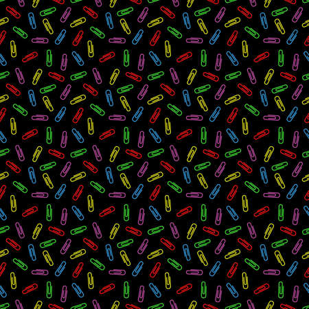 multi colored: Seamless pattern of multi colored paper clips for textiles. Raster paperclips seamless pattern. Chaotic scattered paper clips on a black background.