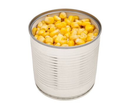 Sweet canned corn in a tin. Tin with maize, isolated.