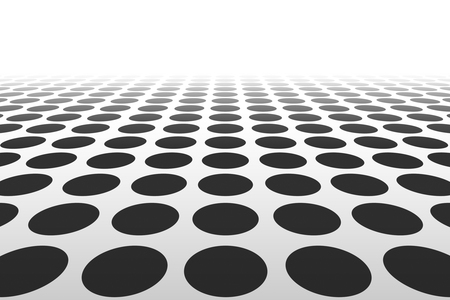DAnce background: Perspective black and white grid. Abstract dotted black and white background. Repeating white circle background