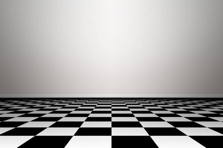 black floor: Empty grunge interior with wall and floor. Image of a nice empty room background. Room with floor chess style.