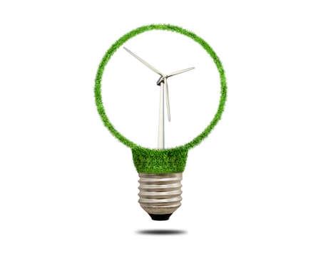 metal filament: Modern wind turbine in a metal socket of the filament lamp. Wind turbine isolated on white background.