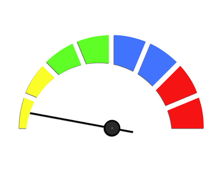 rating: Speed meter or rating meter visual element. Colorful sensor, vector illustration.