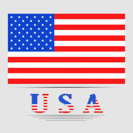 labor strong: USA letters with united states flag - illustration. Image of American flag. USA Flag on white background. Stock Photo