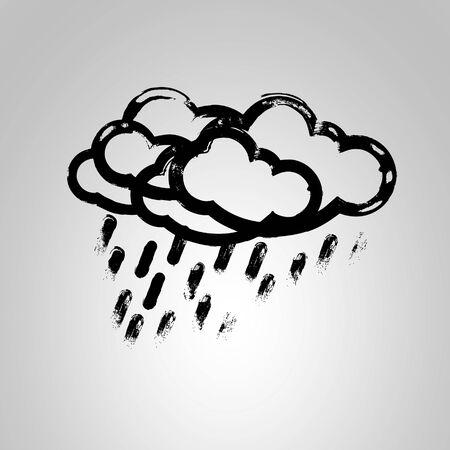 raining background: Cloud with rain isolated on grey background. Rain icon. Isolated rain cloud black illustration. Vector silhouette raining cloud symbol
