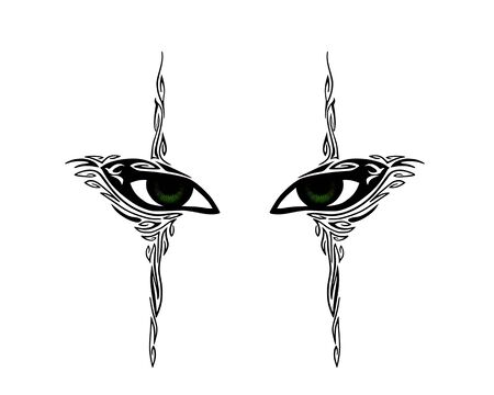 green eyes: Green eyes of the girl with decorative elements. Abstract tattoo of human eyes - vector illustration.